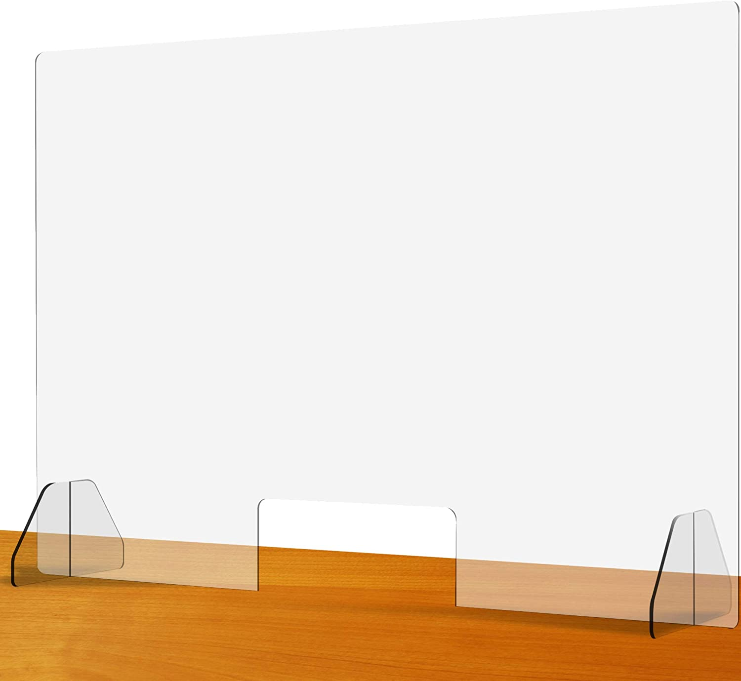 """Clear Acrylic Plexiglass Sneeze Guard 36""""W x 24""""H - Protective Plastic Window Barrier Screen and Shield - Freestanding Portable Germ Protection Shields for Office Desk, Counter, Table and Nail Salon"""