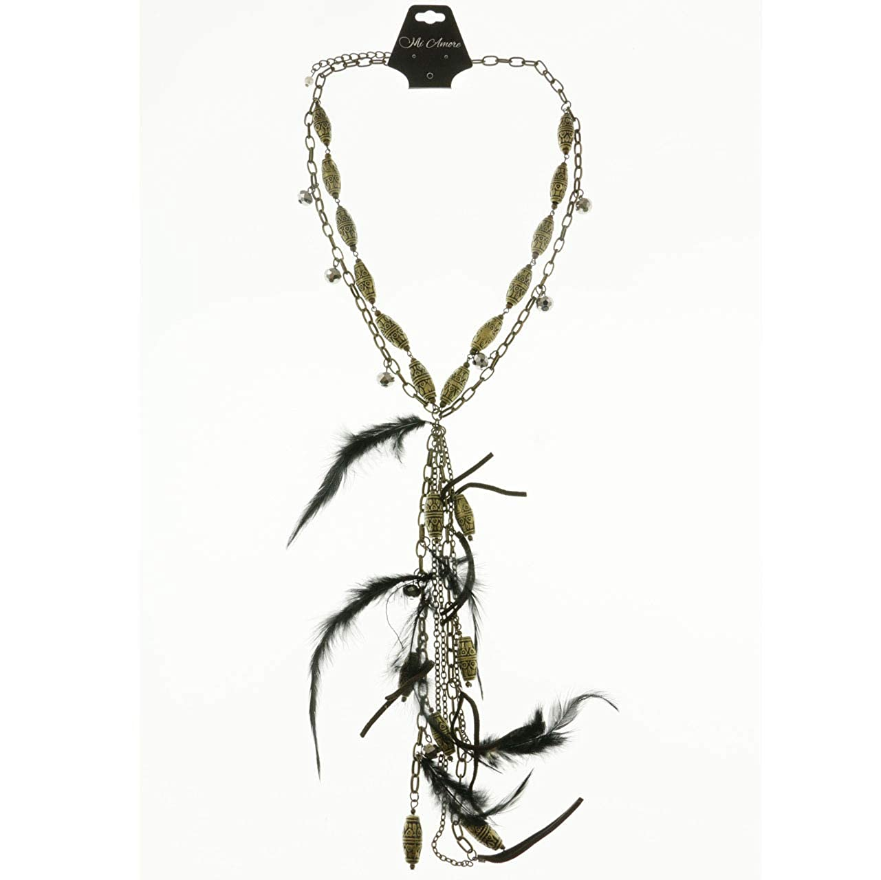 Mi Amore Feathers Tassels Adjustable Statement-Necklace Multicolor /& Gold-Tone