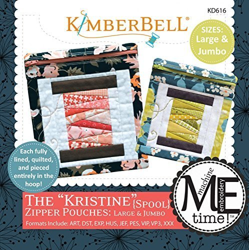 Kimberbell Designs The Kristine Zipper Pouches Spool Large and Jumbo with Embroidery CD (Design Large Hoop)
