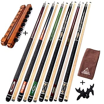 Image of CUESOUL 6 Pieces Pool Cues 58 inch + Cue Rack+Cue Clean Towel+Bridge Head,Billiard House Bar Pool Cue Sticks Cue Sticks