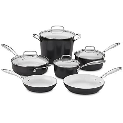 Amazon.com: Cuisinart Elements 10piece Ceramica Polar White Non ...