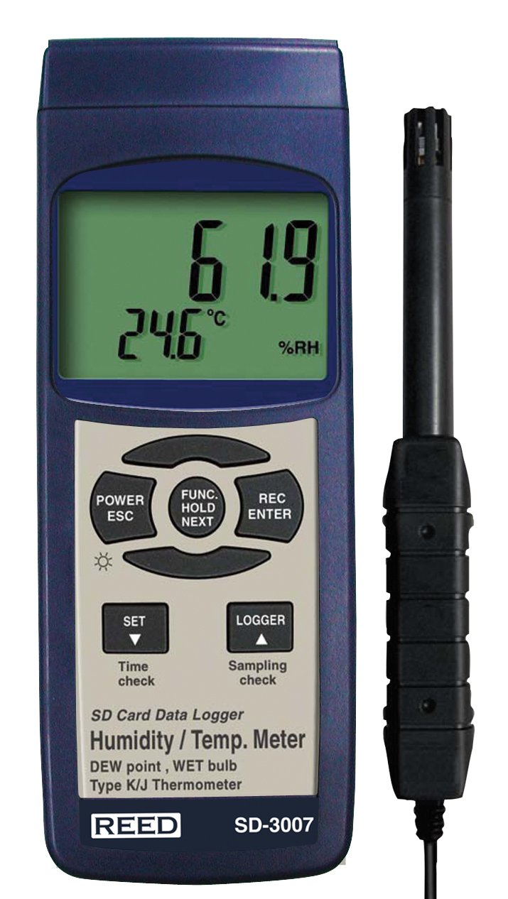 REED Instruments SD-3007 SD Series Thermo-Hygrometer Datalogger, 32 to 112°F (0 to 50°C), 5-95%RH, Wetbulb/Dewpoint Temperatures