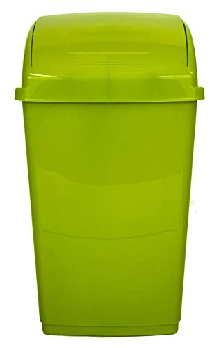 Whitefurze 30Lt Lime Green Plastic Flip Top Rectangle Waste Paper Rubbish  Kitchen Office Bin