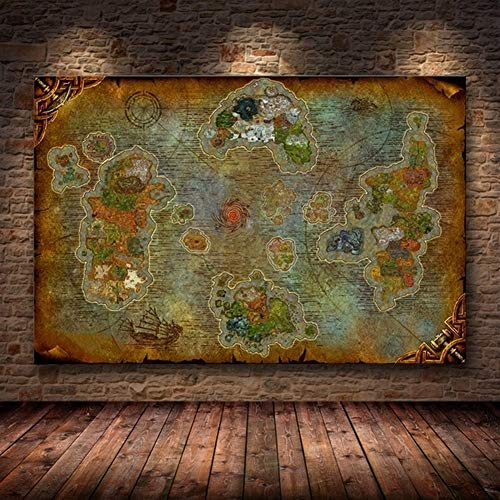 ZNLEY.O Canvas Painting Unframed The Poster Decoration Painting of World of Warcraft Map On HD Canvas Wall Pictures for Living Room Oil Painting JYSLR018
