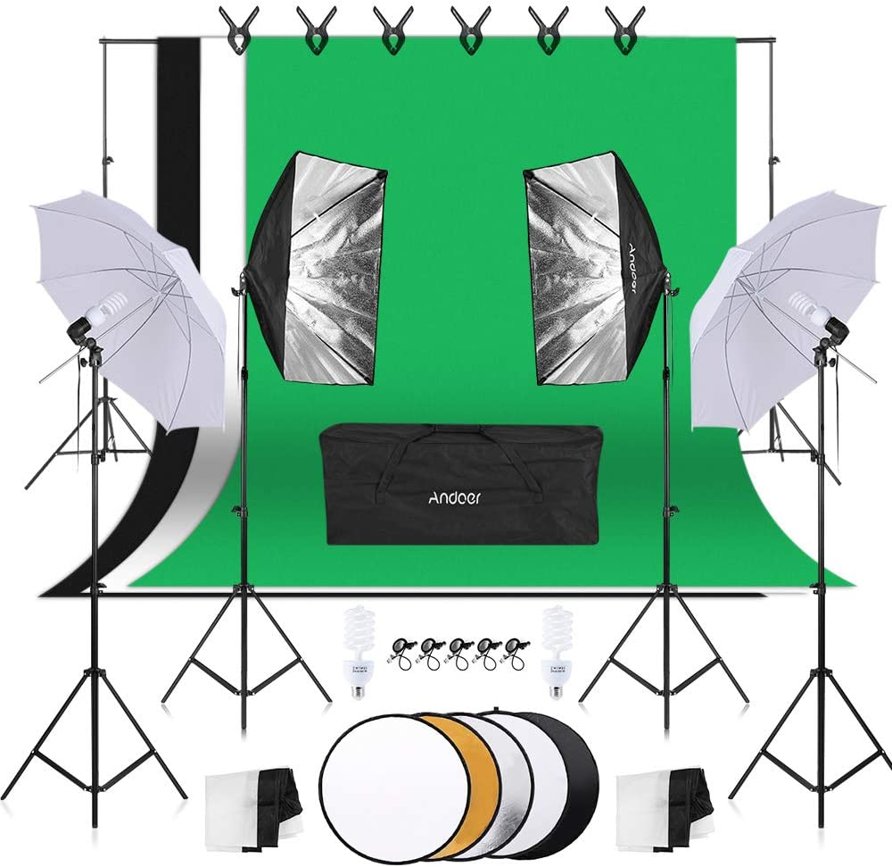 Andoer Photo Studio Lighting Kit, 1.8mx 2.7m/6x 9ft Background Support System, 3 Color Backdrop Fabric 80W 5500K Umbrellas Softbox kits 5in1 Reflector WAS £129.99 NOW £98.79 @ Amazon