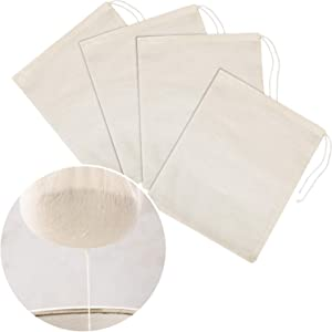 Tatuo 4 Pieces Cheesecloth Bags Nut Milk Strainer Cotton Muslin Bags Mesh Food Bags for Yogurt Coffee Tea Juice Wine Supplies (Small (8 x 10 Inches))
