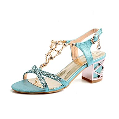 02ba950404ff Amazon.com  Fashion Crystal Ladies Sandals Summer Open Toe T-Strap ...