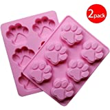 Cy3Lf 6 Cavity Paw Baking Silicone Mold Cake Mold Cookie Mold Pudding Mold Jelly Mold (Pink, Pack of 2)