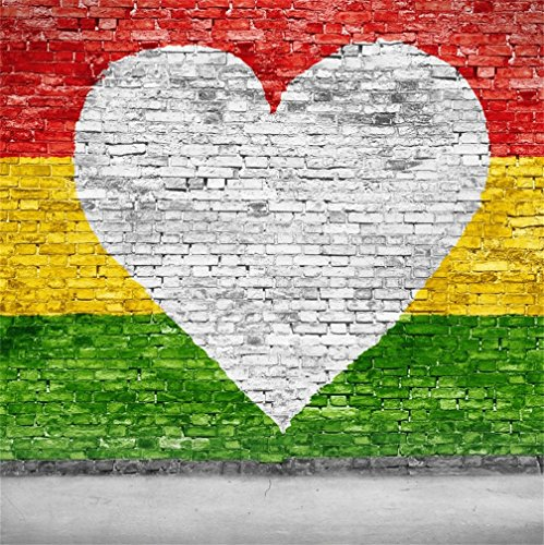 CSFOTO 8x8ft Background for Love Reggae on Brick Wall Photography Backdrop White Heart Shaped Yellow Green Red Colourful Striped Painted Wall Photo Studio Props Portrait Vinyl Wallpaper