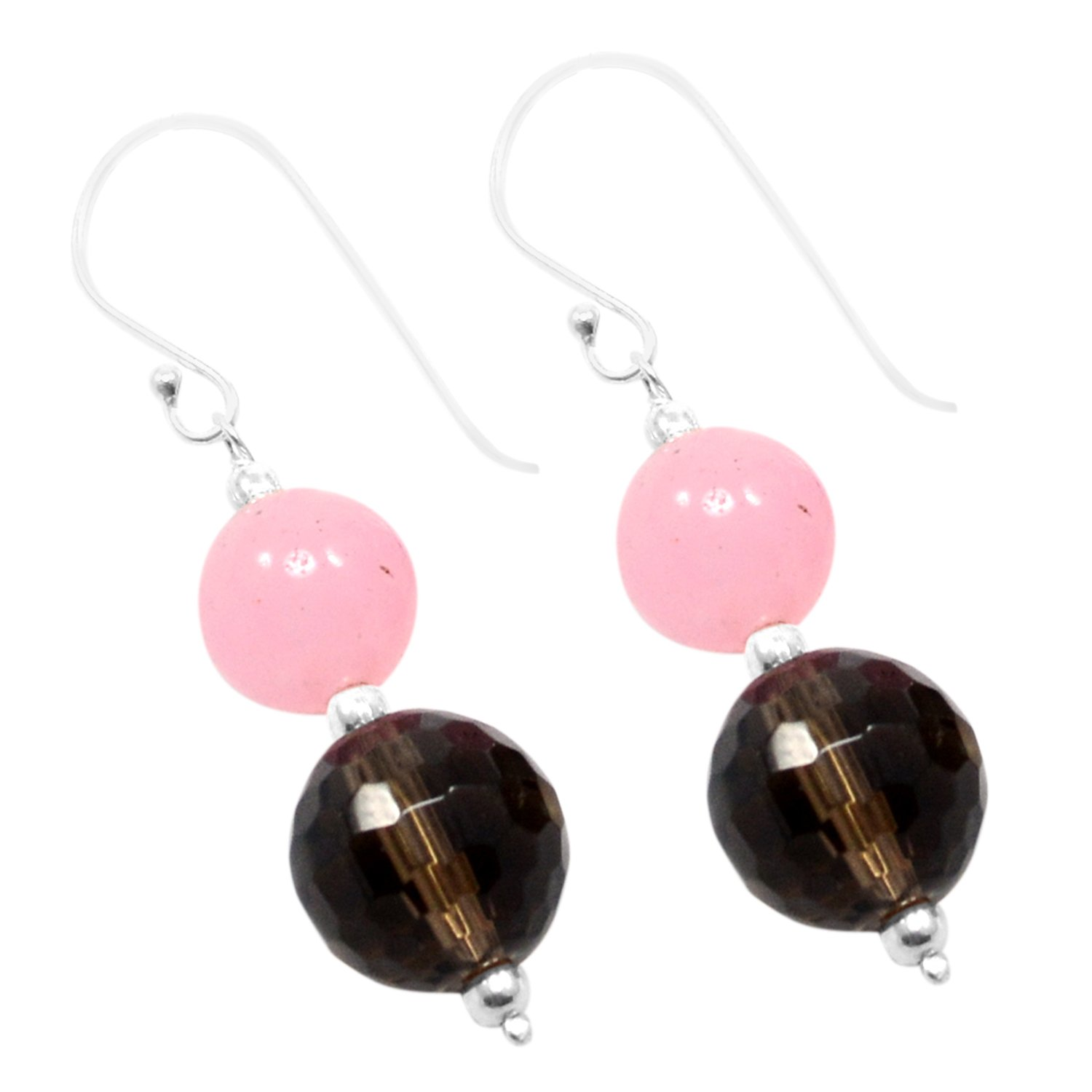 Brown Smoky Quartz 925 Silver Round Ball Beads /& Silver Hook Dangle Earring Jaipur Rajasthan India Handmade Jewelry Manufacturer Pink Rose