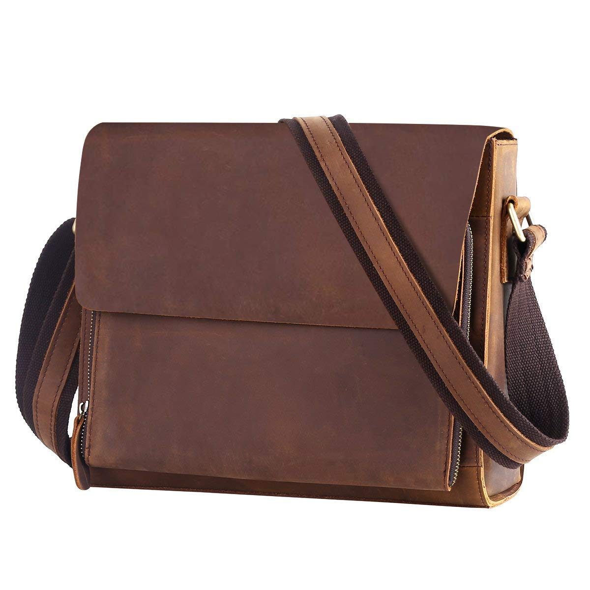 39e8d875da Leathario Borsa a Tracolla in Pelle da Uomo per Lavoro Messenger Bag a Spalla  Retro Porta PC Laptop 14 inch per Universita' Marrone: Amazon.it: Valigeria