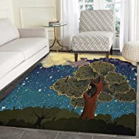 Nature Area Rug Carpet Funk Art Stylized Vibrant Starry Night Sky with Puffy Clouds and Tree Illustration Print Living Dining Room Bedroom Hallway Office Carpet 5x6 Multi