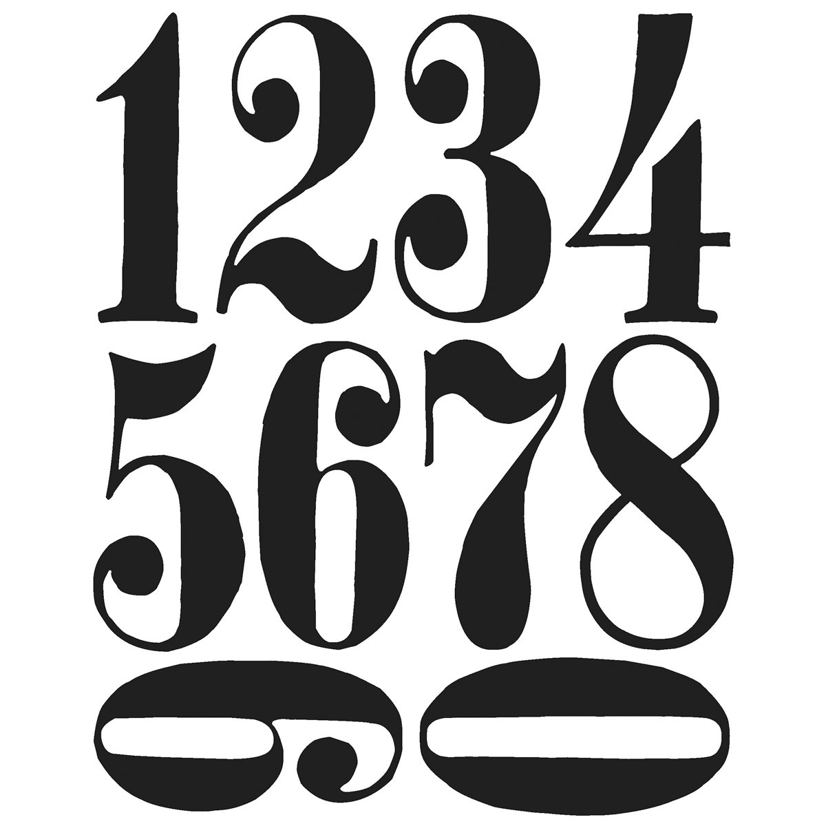 Stampers Anonymous Tim Holtz Cling Rubber Stamp Set, 7 by 8.5-Inch, Numeric