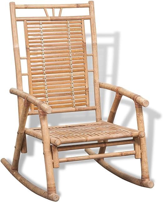 vidaXL Silla Mecedora de Jardín de Bambú Asiento Balancín Patio Terraza Porche: Amazon.es: Jardín