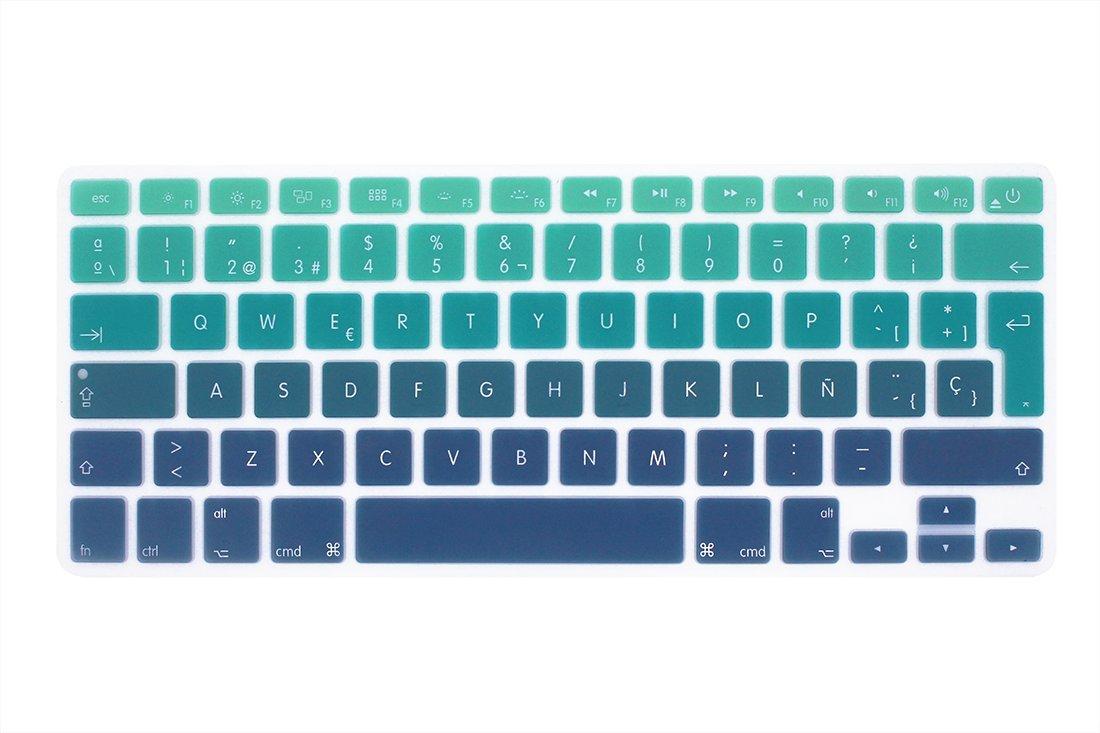 espa/ñola Cubierta del teclado // Keyboard Cover para MacBook Pro 13 15 17 /& Air 13 EU//ISO Disposici/ón Silicone // Silicona Skin Distribuci/ón del teclado de la UE // ISO - mezclar morado y rosa Wayes
