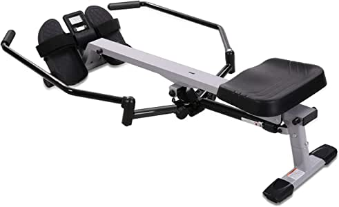 MARNUR Full Motion Rowing Machine Indoor Rower with 350 lbs Weight Capacity/12 Level Hydraulic Resistance/LCD Monitor for Cardio Exercise Workout at Home