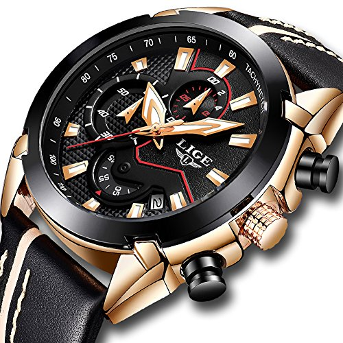 Big Date Mens Wrist Watch - Watches for Men,LIGE Chronograph Waterproof Military Sports Analog Quartz Watch Gents Big Face Leather Strap Date Fashion Casual Dress Wrist Watch Rose Gold Black