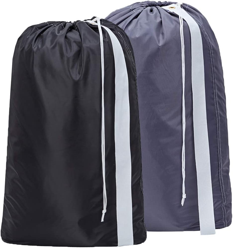 HOMEST 2 Pack XL Nylon Laundry Bag with Strap, Machine Washable Large Dirty Clothes Organizer, Easy Fit a Laundry Hamper or Basket, Can Carry Up to 4 Loads of Laundry, Black and Grey, Patent Pending