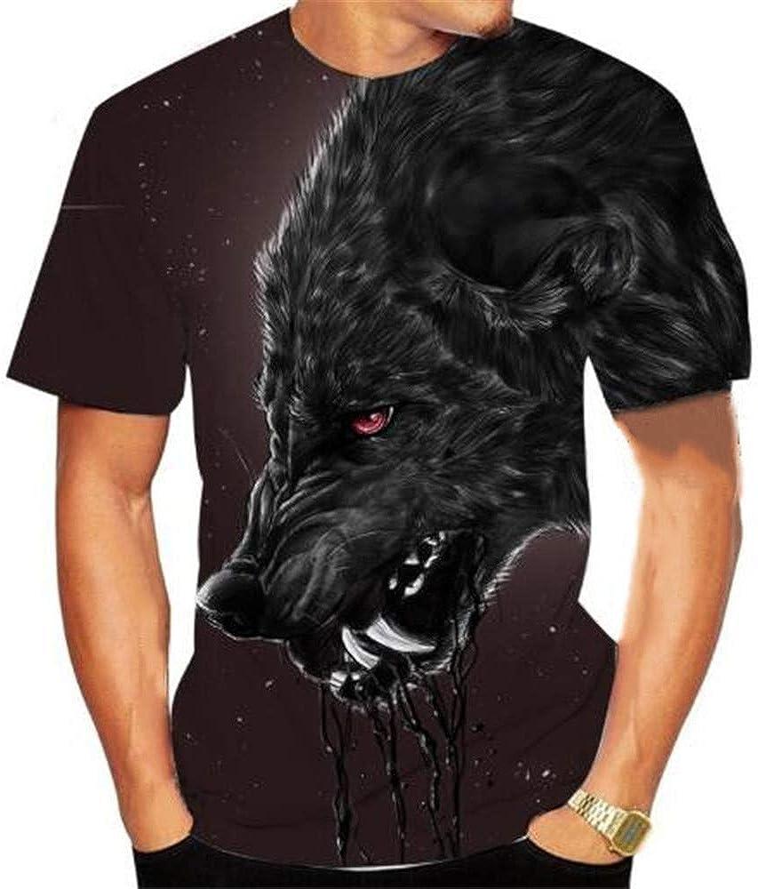 Verano Casual Camiseta Estampado Digital De Lobo 3D Cuello Redondo para Hombre SeccióN Delgada Manga Corta: Amazon.es: Ropa y accesorios