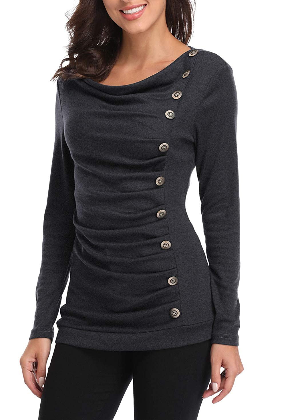 MISS MOLY Women Buttons Decor Ruched Front Cowl Neck Long Sleeves Tunic T-Shirt C-47-XS