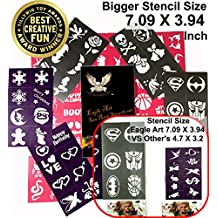 Face Paint Stencils By Eagle Art | X-Large 2x2.4, Large 2x1.8, Medium 2x1.4 (Inches) Size Stencil Design | Flex To Follow Contours Body & Face For Perfect Application | Reusable Adhesive Stencils
