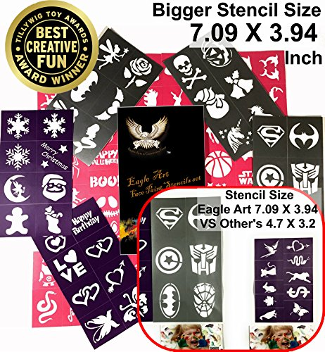Eagle Art Face Paint Stencils | X-Large 2x2.4, Large 2x1.8, Medium 2x1.4 (Inches) Size Stencil Design | Flex To Follow Contours Body & Face For Perfect Application | Reusable Adhesive (Halloween Stencils For Painting Pumpkins)