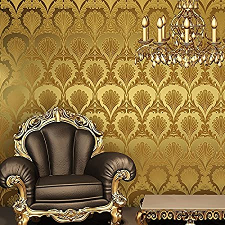 HaokHome® 7075 Vinyl Gold Metallic Damask Wallpaper Shiny Glitter ...