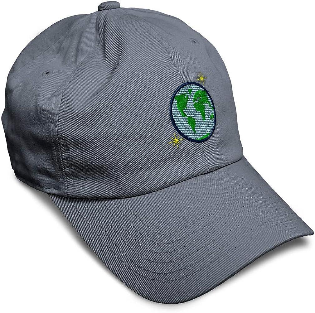 Custom Soft Baseball Cap Globe and Stars Embroidery Dad Hats for Men /& Women