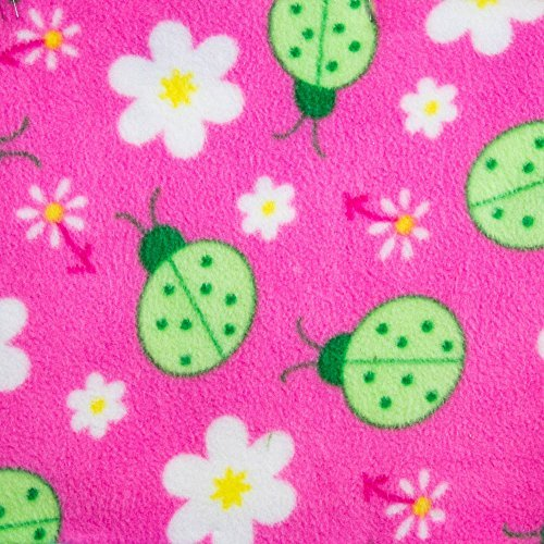 - Green Lady Bug on Pink Anti Pill Animal Theme Fleece Fabric, 60