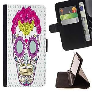 King Case - FOR Apple Iphone 5 / 5S - knows all about you - Prima caja de la PU billetera de cuero con ranuras para tarjetas, efectivo Compartimiento desmontable y correa para la mu?eca