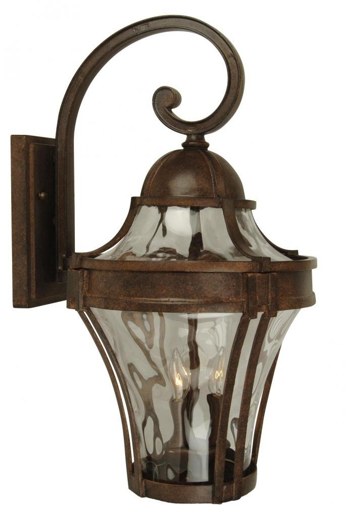 Craftmade Z4214-05 Wall Lantern with Clear Hammered Glass Shades, Black Finish