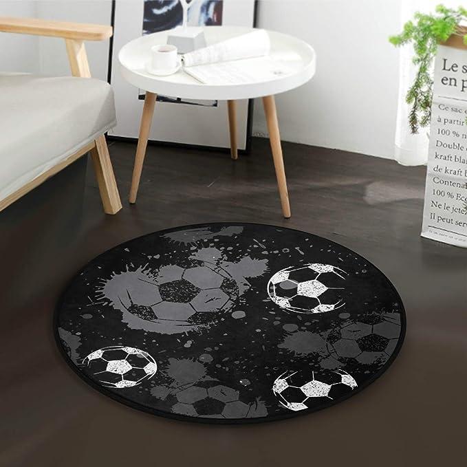Kinderteppich rund Teppich Stuhl Matte Boden f/ür Kinderzimmer Spielteppiche Fu/ßball, Durchmesser 80cm