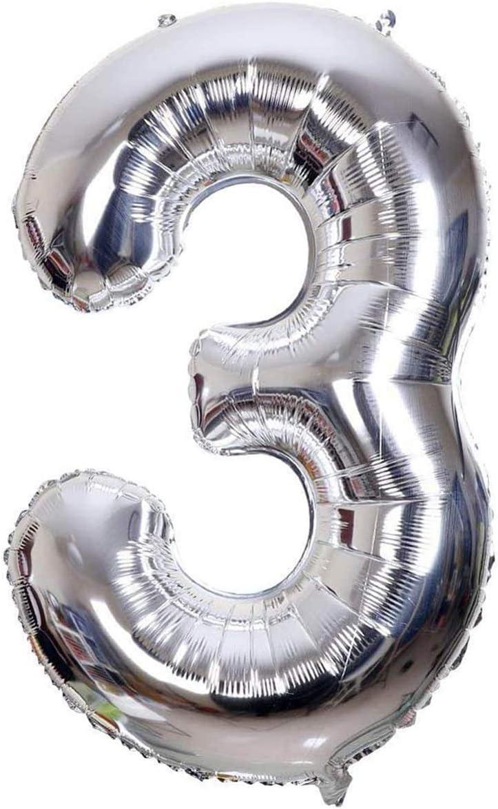 Globo Número Multicolor Decoración de Boda Aniversario Cumpleaños Suministros de Fiesta Happy Birthday para Adultos y Niños Apto para Helio (45cm/Platero, Número 3)
