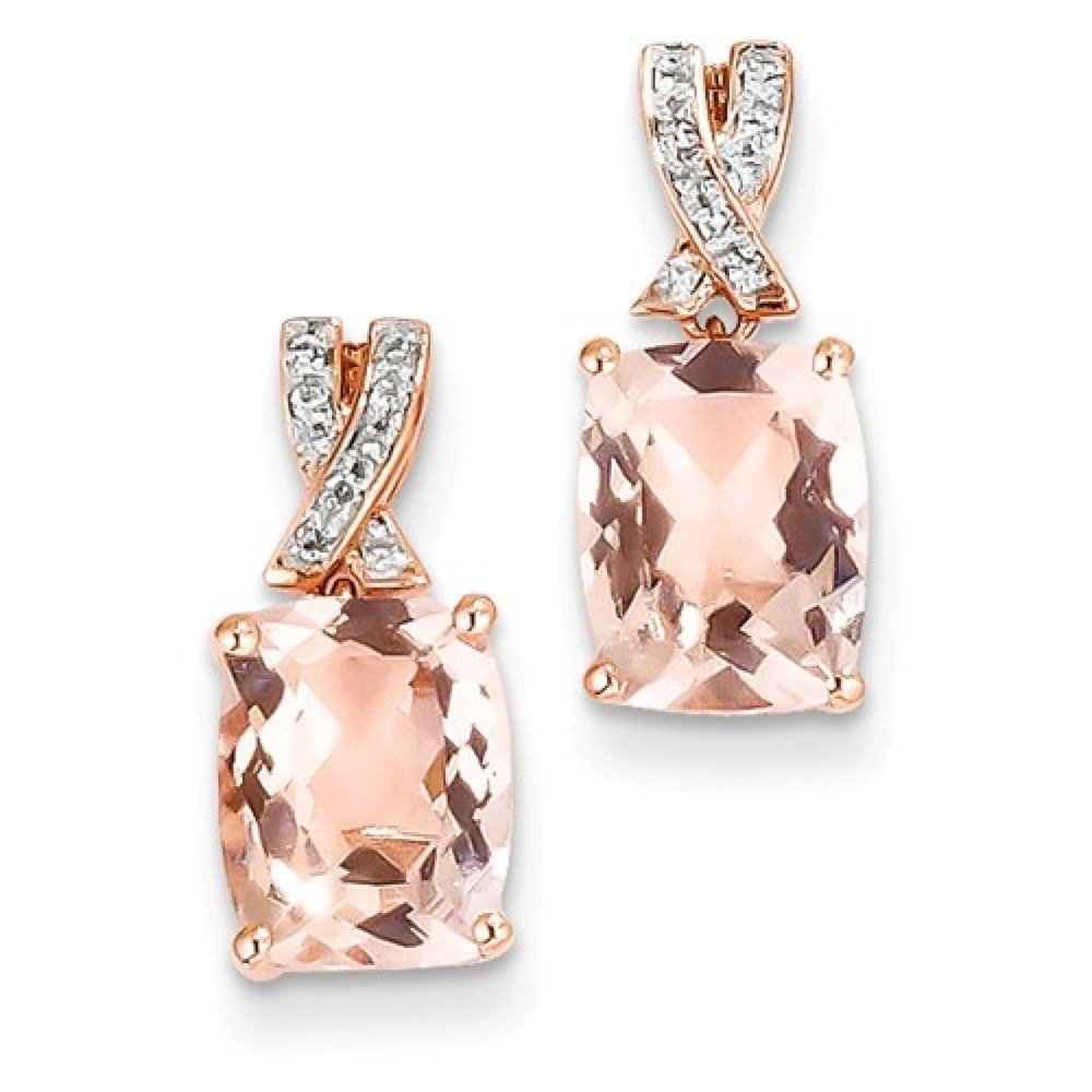 Roxx Fine Jewelry™ Diamond and Morganite Halo Drop Earrings 3.67 Ct. TCW