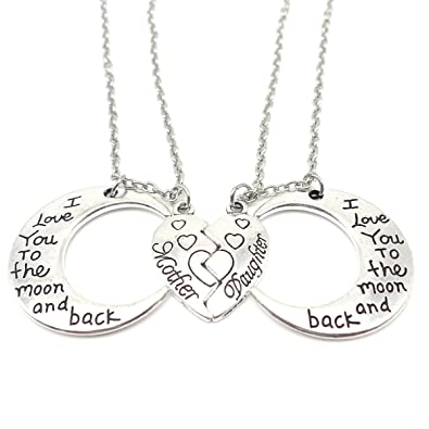 7a8df54ed0 Amazon.com: I Love You to the Moon and Back Mother Daughter Moon Love Heart  Necklace Pendant 2PC, Mother and Daughter Holiday Gifts: Jewelry