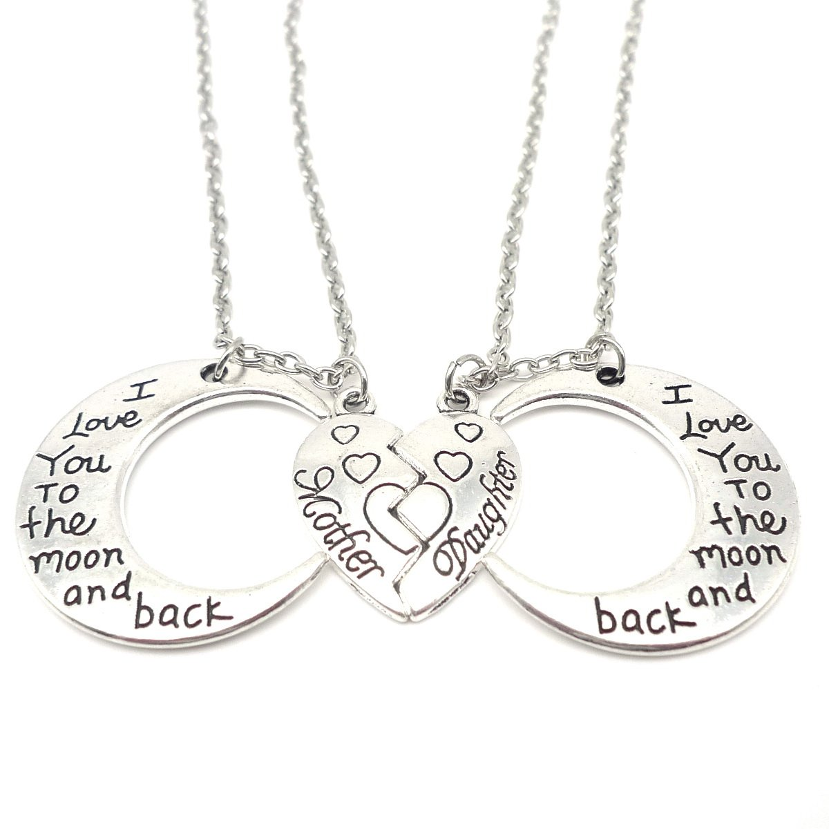 I Love You to the Moon and Back Mother Daughter Moon Love Heart Necklace Pendant 2PC,Mother and Daughter Holiday Gifts
