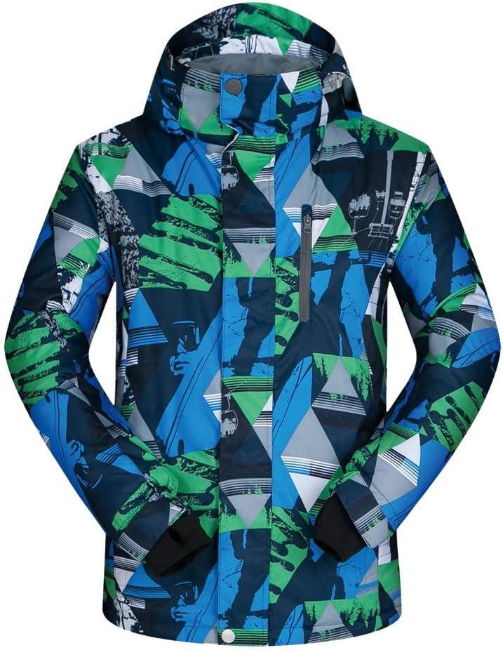 メンズスキーウェア 取り外し可能なフード、ポリエステルが付いている冬緑のジャケットを歩く青緑色の三角形の羊毛 スキー休暇用 (色 : 青-緑 triangle, サイズ : XXL) 青-緑 triangle XX-Large