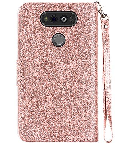 LG V20 Case, LG V20 Wallet Case, BENTOBEN Sparkly Glitter Bling Luxury Flip [Credit Card Holder] Cash Pockets Wristlet Faux Leather Protective Case for LG V20 (2016 Release), Rose Gold