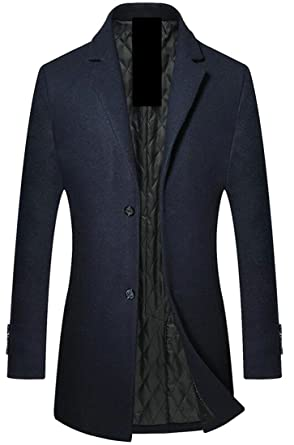 Alion Men Single Breasted Business Solid Color Military Peacoat ...