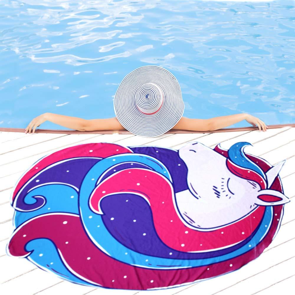 lila ACCESSU trendiges Badetuch und Strandhandtuch Einhorn Unicorn Schwimmbadtuch rosa blau 180 x 130 saugf/ähiges Microfaser fair und sozial