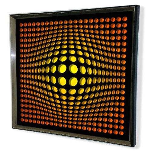 Designart Modern Black Tinted Acrylic Vortex Mirror, Yellow
