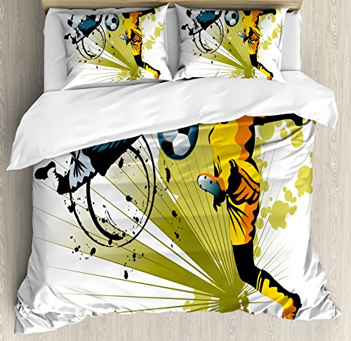 Boy's Room Queen Size Duvet Cover Set by Lunarable, Soccer Player Attack Gate of the Opponent Jumping Goalkeeper Abstract Colorful, Decorative 3 Piece Bedding Set with 2 Pillow Shams, Multicolor by Lunarable