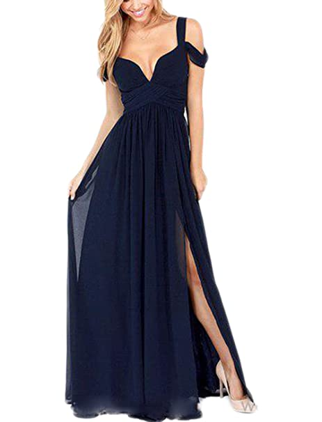 751e7b1808f4f Veilace Women's Navy Blue Deep V-neck Prom Dress High Slit Chiffon Formal Evening  Gowns .. at Amazon Women's Clothing store: