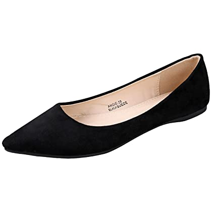 a7940a53ab1 Bella Marie BellaMarie Angie-28 Women s Classic Pointy Toe Ballet Flat Shoes  Black Suede 7 B(M) US