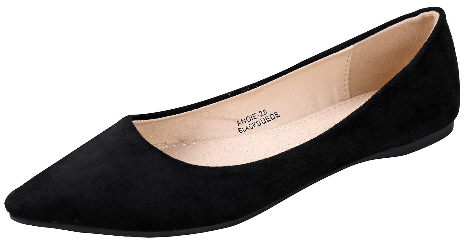 Bella Marie BellaMarie Angie-28 Women's Classic Pointy Toe Ballet Flat Shoes Black Suede 7.5 B(M) US