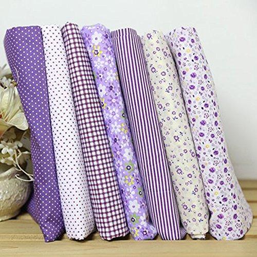 (Softmusic DIY Crafts 7Pcs 25x25cm Cotton Fabric Flower Polka Dot Bundle DIY Patchwork Quilt Cloth Purple (7pcs / Set))