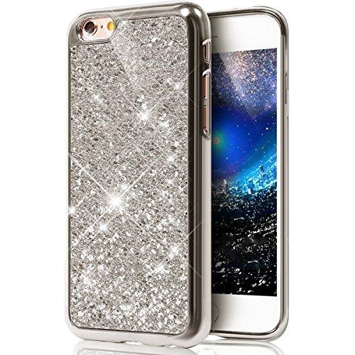 Funda Case para iPhone 6 iPhone 6S 4.7, Ukayfe 3D Crystal Creativa Lujo Moda Sparkle Glitter Bling Cover Funda Caja ,Protectora Carcasa Bling del brillo del Plastica transparente Carcasa Cubierta Shel Bling Argent