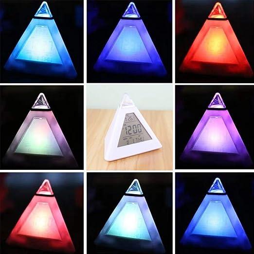 HONGFENG Reloj Triangular, Reloj Despertador Digital con Pirámide ...