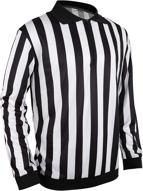 Yuar butee Mens Official Black /& White Stripe Referee Shirt