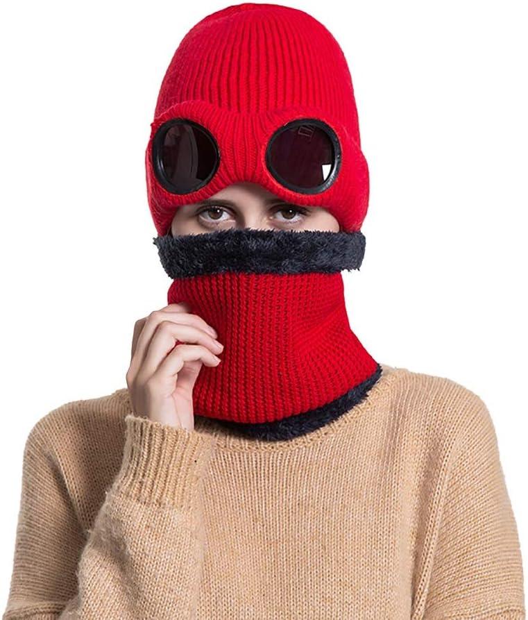 Happy-L Sombrero, Sombrero del Montar a Caballo de la Gorrita Tejida del Gorro Flexible del Clima frío de Las Mujeres 3-en-1 del Invierno Que Monta al Aire Libre,Ocio Fashion Cap. (Color : Red)